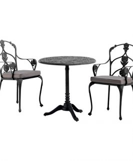 Jekyll Pedestal Table with 2 Arm Chairs - Black