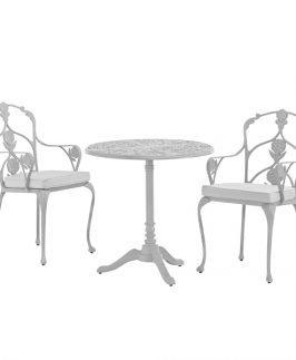 Jekyll Pedestal Table with 2 Arm Chairs - White